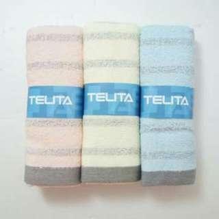 每組99元,三組270元,TELITA粉彩竹炭條紋毛巾3入組,原價250元
