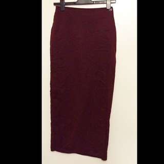 Long Burgundy Skirt