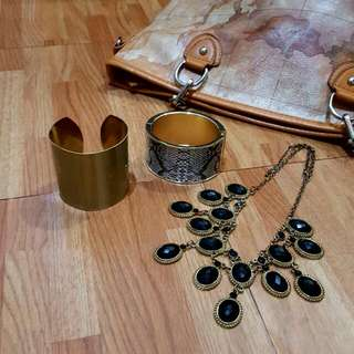 SALE   Set Of Gold Necklace And Cuffs