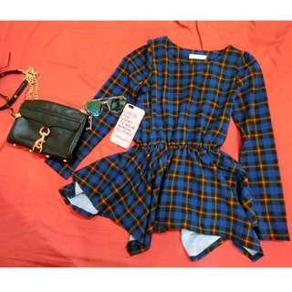 藍格紋 長版傘狀長袖洋裝👗