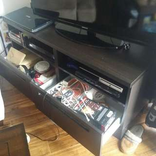 Tv Stand With Drawers ($40). 32 inch Seiki Tv($120) . Big Ikea Table($10). Coffe Table($15)