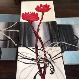 Modern oil painting set of 5 coordinated $100