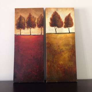 Set Of 2 Oil Canvases In Warm Colours