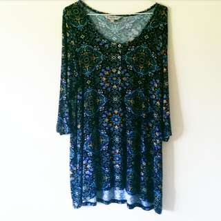 Blue Paisley Design Dress/Top WORN ONCE
