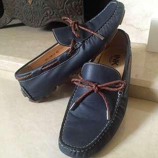 INK綁帶牛皮帆船鞋、樂福鞋,深藍、海軍藍