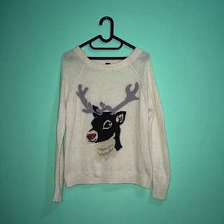 H&M Red Sparkly Deer Sweater
