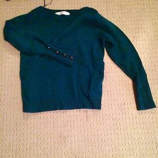 Zara Forest Green Crew Neck Sweater