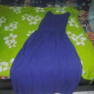 Dress biru elektrik (lengan buntung)