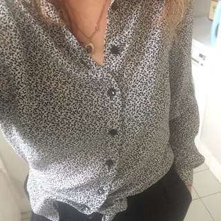 Black White Vintage Blouse