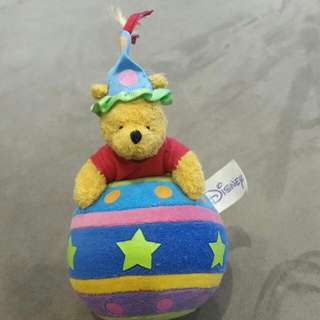 Disney Winnie The Pooh Bear On Ball With Bell