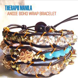 Andie Boho Wrap Bracelet With Four leaf clover charms