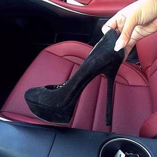Jess Simpson Suede Black Sharp Edge Platform Heels
