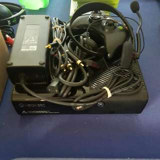 Xbox 360 With Wiring And Headphones