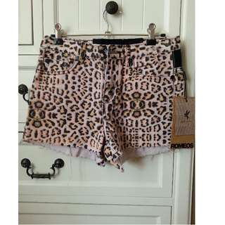 One Teaspoon High Waisted Leopard Print Shorts
