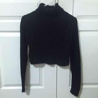 Black Knit Turtle Neck Sweater