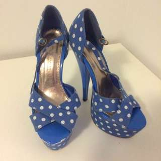 Vintage Pinup Blue Polka dot Shoes Sz38
