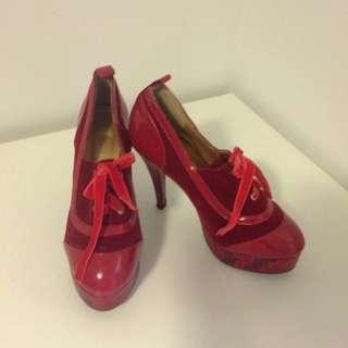 Red Boots Heels Sz38