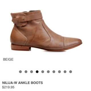 Light Beige Leather Boots