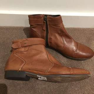 Brandy Leather Boots