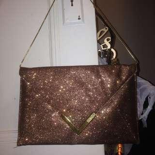 Brown-gold Sparkle Clutch