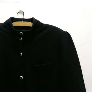 💮古著 復古中山領黑色質感長版大衣毛料保暖外套