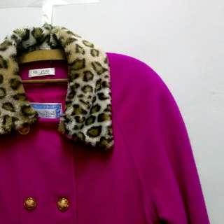 💮古著 浮誇貴氣貴婦桃紅豹紋大衣外套
