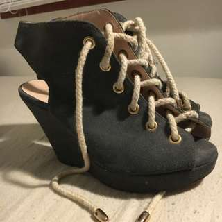 Grey Suede Lace Up Wedges