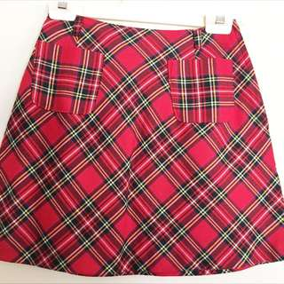 🌻 RED TARTAN PLAID CHECK A-LINE MINI SKIRT WITH POCKETS 🌻