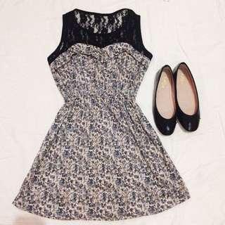 Floral Dress with Lace Details