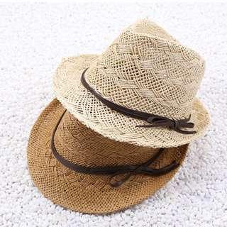 質感編織造型紳士帽 草帽  皮革造型