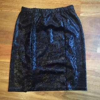 Crushed Velvety Black Sparkly Skirt
