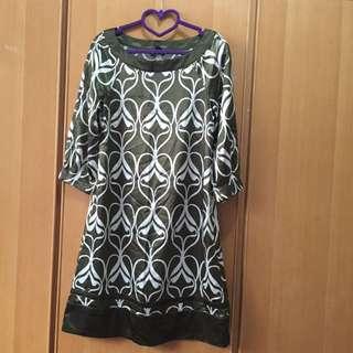 H&M 絲綢 洋裝 復古