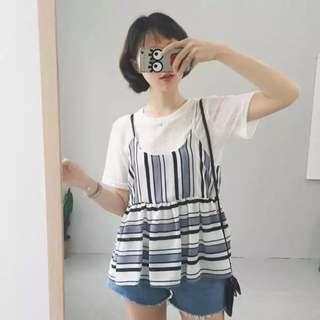 韓版短袖T恤+條紋雪紡背心💕