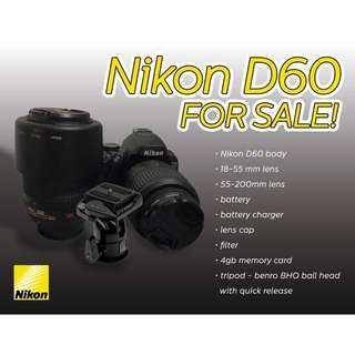 Nikon D60 with extra Lens and Tripod