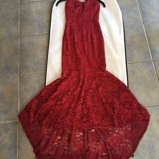 Red Long Lace Dress