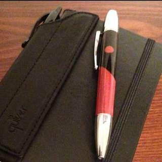 Quiver Genuine black leather single pen holder