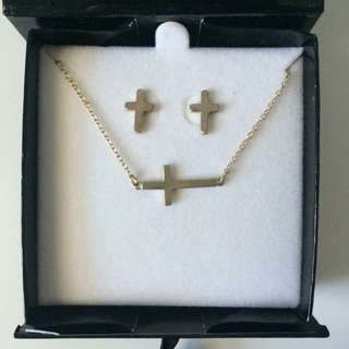 bizou Gold-plated Cross Necklace And Earrings Set