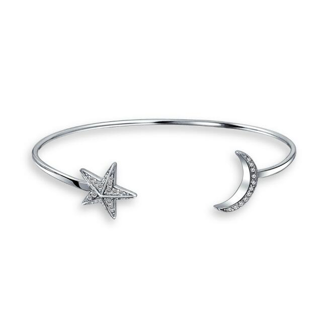 925 Sterling Silver Cubic Zirconia moon and star bangle