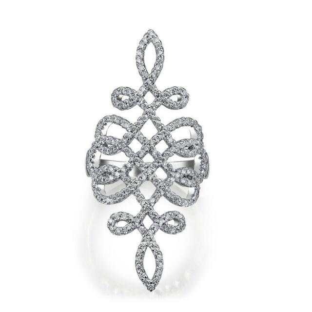 925 sterling silver cubic zirconia knuckle ring.