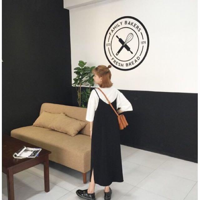 黑色#細肩#吊帶裙#洋裝#長裙(含運)