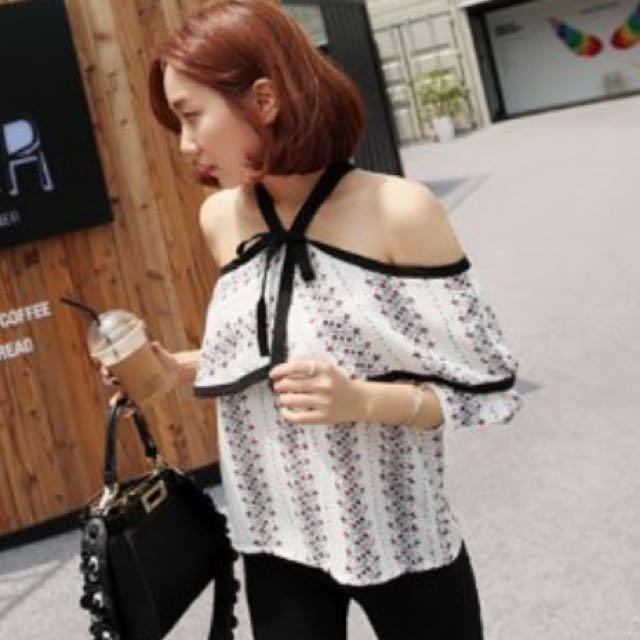 韓製露肩造型上衣