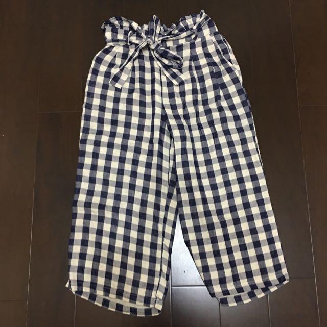 日系棉麻格紋寬褲