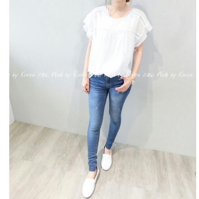 正韓 韓系 korea 刷色顯瘦彈性素面牛仔褲丹寧褲