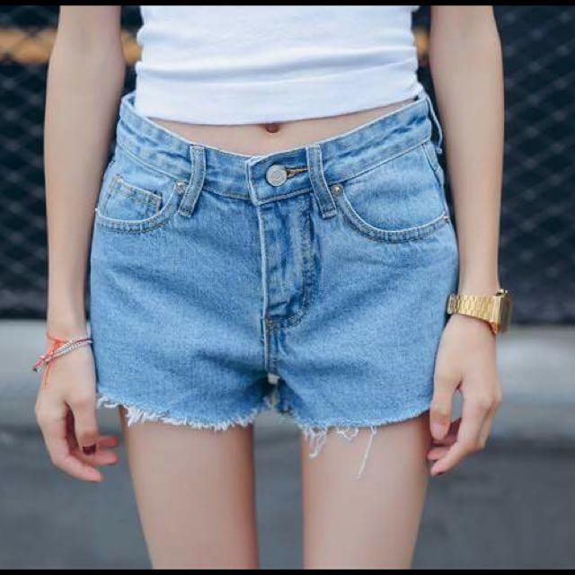 高腰淺藍牛仔褲 M號