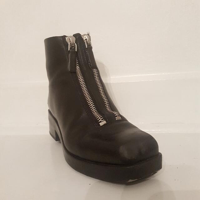 ALEXANDER WANG SIZE 39 BLACK 'Frederica' ANKLE BOOTS