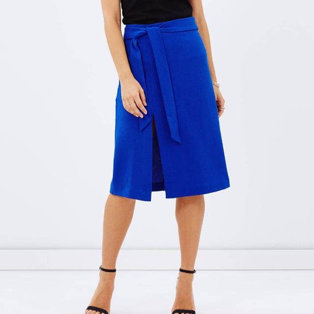 Atmos & Here Cobalt Blue High Waist Skirt With Slit