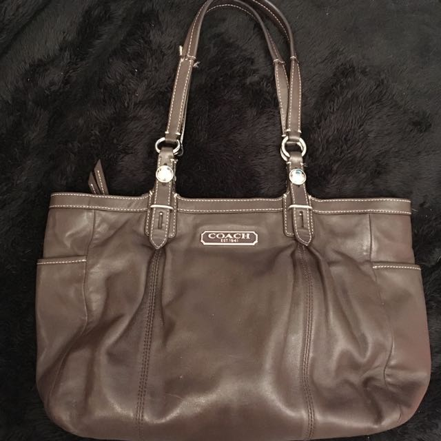 Auth Leather Coach Shoulderbag