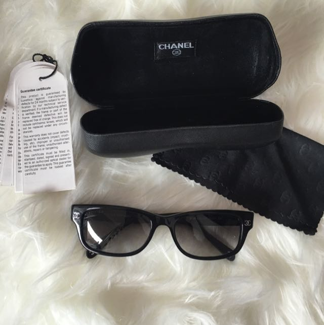 Authentic Chanel Eye Glasses Sunglasses Quilted Logo Cc Black