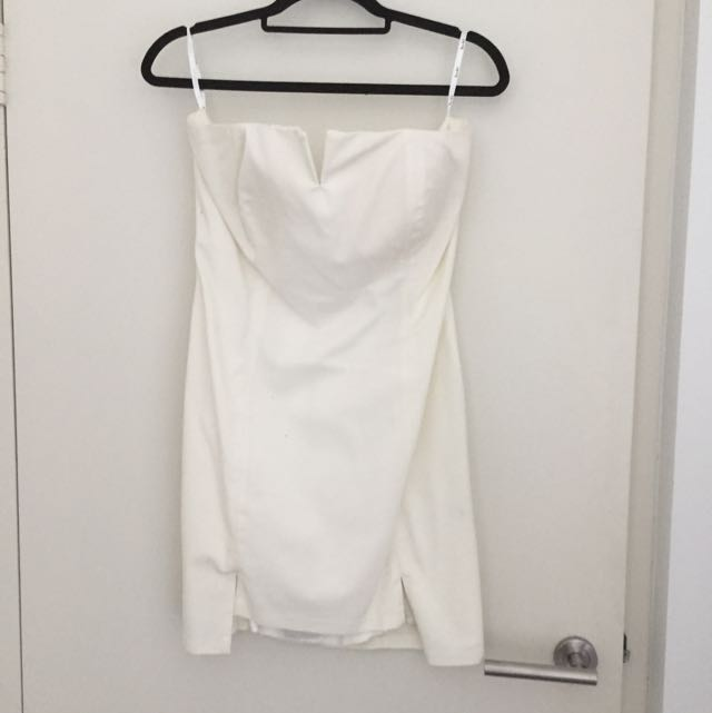 Bardot White Strapless Dress Size 14