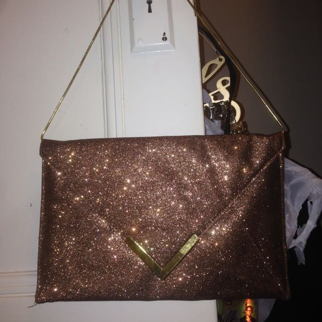 Brown-gold Sparkle Clutch